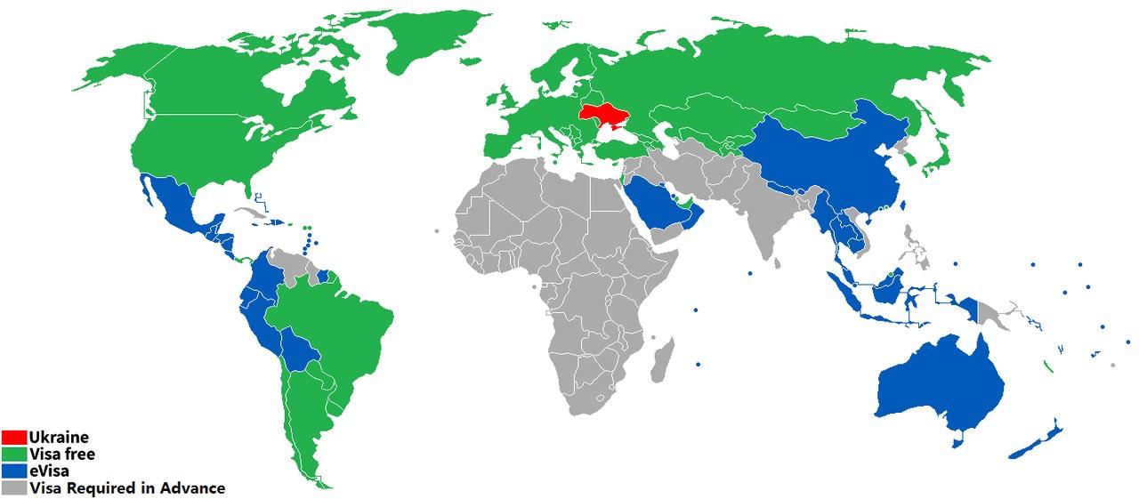 Ukraine Visa Map